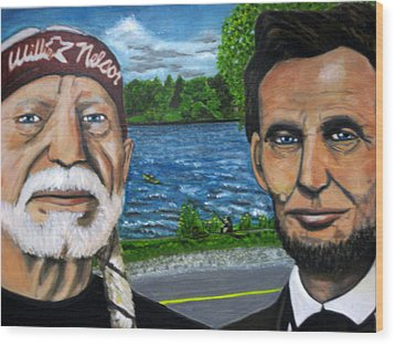 Abe And Willie Wood Print by Joshua Bloch