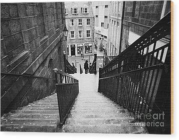 Aberdeen Union Street Back Wynd Stairs Scotland Uk Wood Print by Joe Fox