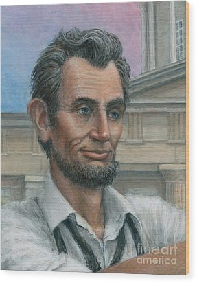 Wood Print featuring the painting Abe's 1st Selfie - Detail by Jane Bucci