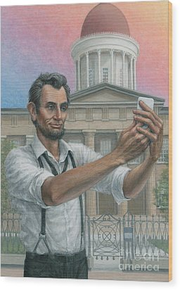 Wood Print featuring the painting Abe's 1st Selfie by Jane Bucci