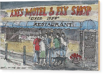 Abes Motel And Fly Shop Wood Print