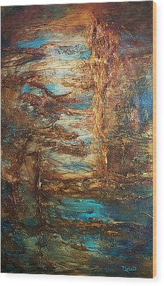 Wood Print featuring the painting Lagoon by Patricia Lintner