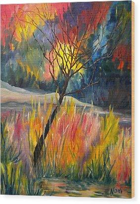 Ablaze Wood Print by Renate Nadi Wesley