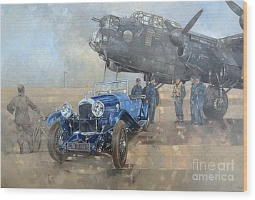 Able Mable And The Blue Lagonda  Wood Print by Peter Miller