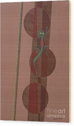 Aboriginal Lizard Wood Print by Kaaria Mucherera