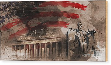 Wood Print featuring the painting Abraham Lincoln by Gull G