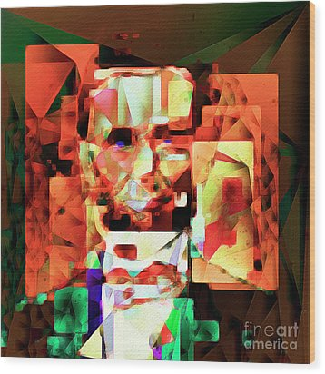 Wood Print featuring the photograph Abraham Lincoln In Abstract Cubism 20170327 Square by Wingsdomain Art and Photography