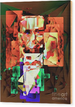 Wood Print featuring the photograph Abraham Lincoln In Abstract Cubism 20170327 by Wingsdomain Art and Photography