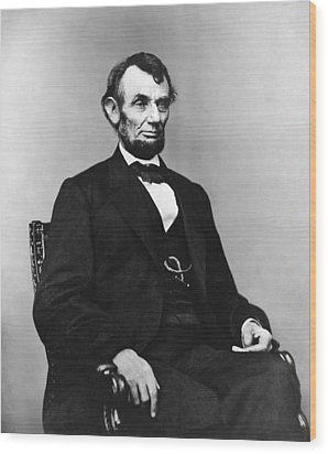 Abraham Lincoln Portrait - Used For The Five Dollar Bill - C 1864 Wood Print by International  Images