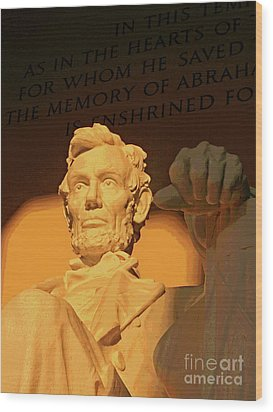 Abraham Lincoln Sunrise Wood Print