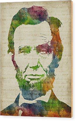 Abraham Lincoln Watercolor Wood Print