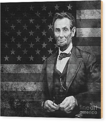 Abraham Lincoln With American Flag  Wood Print by Gull G
