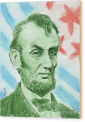 Wood Print featuring the drawing Abraham Lincoln  by Yoshiko Mishina