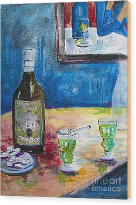 Absinthe For Two Wood Print by Ginette Callaway