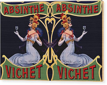 Absinthe Lady Ad Wood Print by Marianne Dow