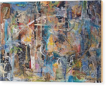Wood Print featuring the painting Abstract #101514 by Robert Anderson