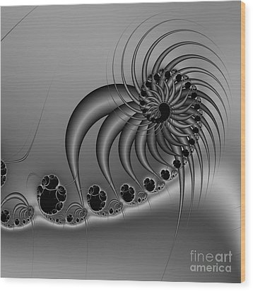 Abstract 118 Bw Wood Print by Rolf Bertram