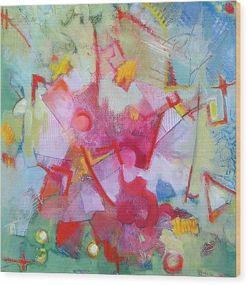 Abstract 2 With Inscribed Red Wood Print by Susanne Clark