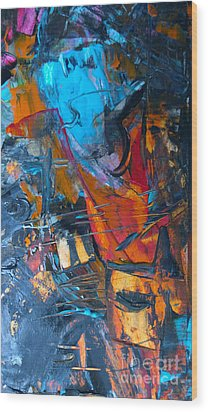 Wood Print featuring the painting Abstract #42715b by Robert Anderson