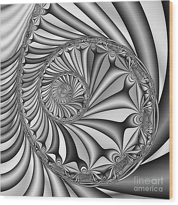 Abstract 527 Bw Wood Print by Rolf Bertram