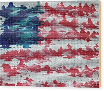 Abstract American Flag  Wood Print by Brian Roberts