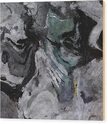 Wood Print featuring the painting Abstract And Minimalist Acryling Painting In Gray Color by Ayse Deniz