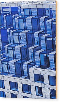 Abstract Architecture In Blue Wood Print by Mark Hendrickson