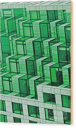Abstract Architecture In Green Wood Print by Mark Hendrickson