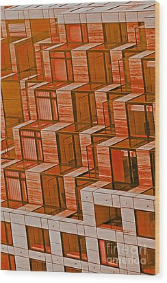 Abstract Architecture In Red Wood Print by Mark Hendrickson