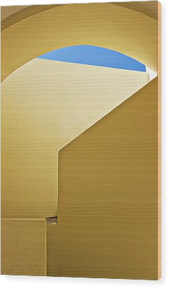 Abstract Architecture In Yellow Wood Print by Meirion Matthias