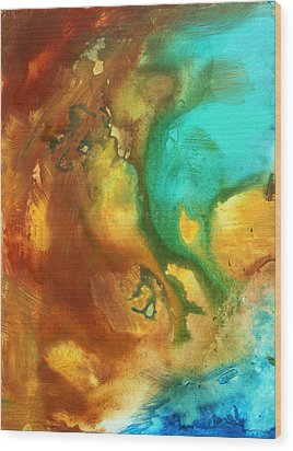 Abstract Art Colorful Turquoise Rust River Of Rust I By Madart  Wood Print by Megan Duncanson