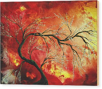 Abstract Art Floral Tree Landscape Painting Fresh Blossoms By Madart Wood Print by Megan Duncanson