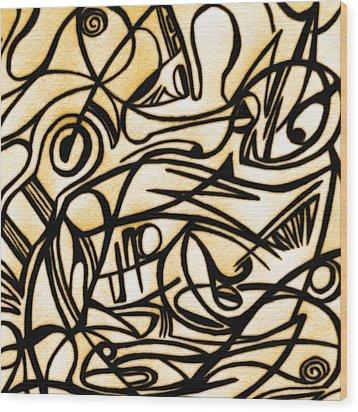 Abstract Art Gold 2 Wood Print by Sumit Mehndiratta