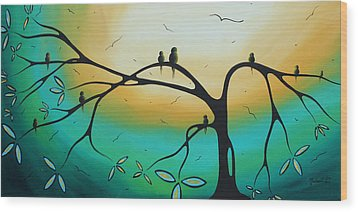Abstract Art Landscape Bird Painting Family Perch By Madart Wood Print by Megan Duncanson