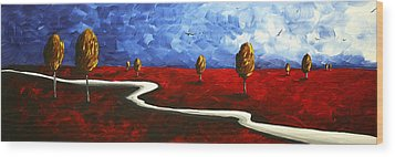 Abstract Art Original Landscape Painting Winding Road By Madart Wood Print by Megan Duncanson