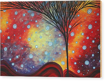 Abstract Art Whimsical Landscape Painting Morning Bliss By Madart Wood Print by Megan Duncanson