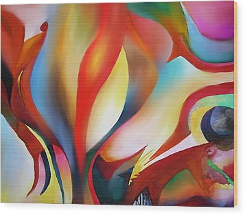 Abstract Beings Wood Print by Peter Shor