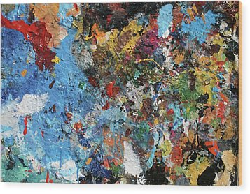 Wood Print featuring the painting Abstract Blue Blast by Melinda Saminski