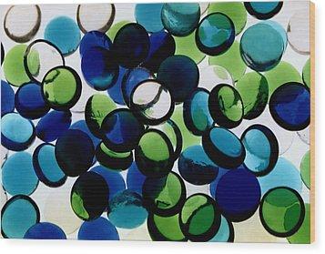 Abstract Blue Green II Wood Print