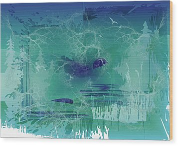 Wood Print featuring the digital art Abstract Blue Green by Robert G Kernodle