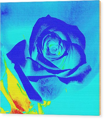 Abstract Blue Rose Wood Print