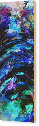Wood Print featuring the painting Abstract Blue Symphony Tall No1 by Ginette Callaway