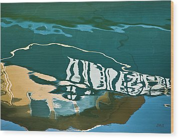 Abstract Boat Reflection Wood Print by Dave Gordon