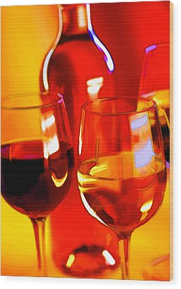 Abstract Bottle Of Wine And Glasses Of Red And White Wood Print by Elaine Plesser
