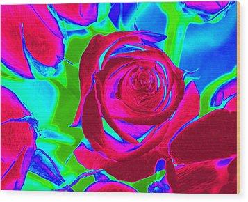 Abstract Burgundy Roses Wood Print by Karen J Shine