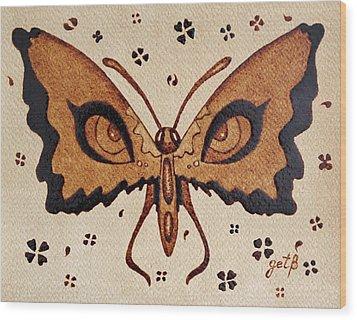 Abstract Butterfly Coffee Painting Wood Print by Georgeta  Blanaru