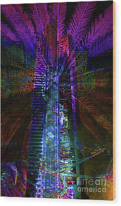 Abstract City In Purple Wood Print by Barbara Dudzinska
