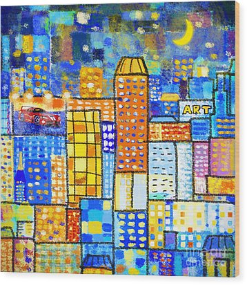 Abstract City Wood Print by Setsiri Silapasuwanchai