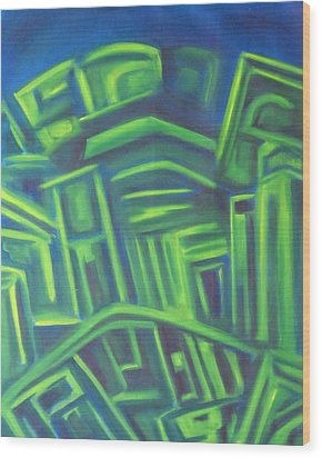 Wood Print featuring the painting Abstract Cityscape Series IIi by Patricia Cleasby