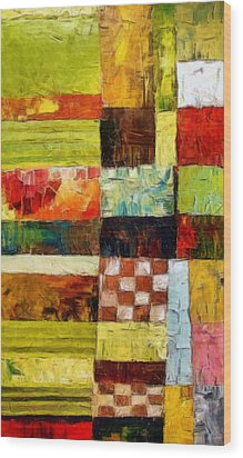 Abstract Color Study With Checkerboard And Stripes Wood Print by Michelle Calkins